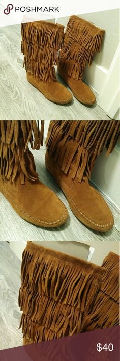 Moccasin Fringe Boot EUC! Worn a handful of times. 11.5 inch tall boot. Color is chestnut. LC Lauren Conrad Shoes