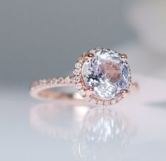 Halo Engagement Ring Rose Gold 14K Round Ice Blue to White Sapphire Diamond Ring 1.4ct