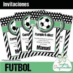 Invitaciones I FUTBOL Blanco y negro - Tarjetas Imprimibles