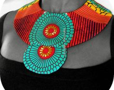 Unique African Patchwork Collar Handmade fabric by BarefootModiste