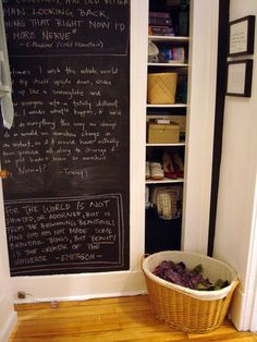 Every kitchen should have a place to post messages and reminders or to write down shopping lists. You could buy a cork bulletin board or dry-erase board and fasten it to a wall or cabinet, but here's a creative DIY option: Use chalkboard paint to put a reusable, easy-to-clean writing surface on the back of a cabinet door. Water-based chalkboard paint is available at most hardware stores or home centers. Start by cleaning and drying the surface you're going to use. Next, apply one coat of…