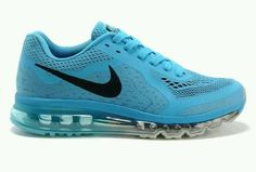 Nike Air Max 2014, New Running shoes, size 8.5, Black/White/Lake Blue, China.
