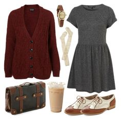"""""""Cozy wih burgundy"""" by hanaglatison ❤ liked on Polyvore featuring Look From London, Topshop, Wigwam, Infinite, burgundy, outfit, brown, sweater, knit and purse"""