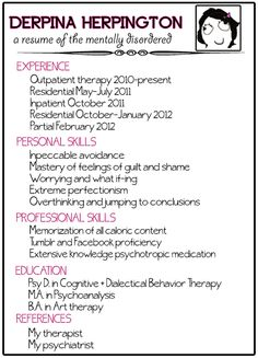 a resume of the mentally disordered...I didn't create this but thought it was humorously therapeutic.