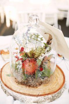 #cloche, #centerpiece  Photography: Alexandra Meseke Photography - alexandrameseke.com Floral Design: Rebecca Shepherd Floral Design - rebeccashepherdfloraldesign.com  Read More: http://www.stylemepretty.com/2012/11/19/brooklyn-botanic-garden-wedding-from-alexandra-meseke-photography/