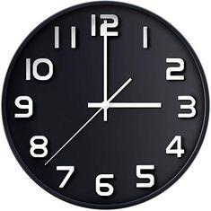 Wall Clock 12 Inch Large Number Silent Quartz Decorative Clocks Modern Round Clocks for Home Bedroom Kitchen School Office Black Clock Display, Clock Decor, Wall Clock Silent, Wall Clocks, Fibonacci Spiral, Kitchen Office, Large Clock, 3d Prints, Home Bedroom
