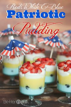Red, white and blue patriotic pudding cups - these are our new favorite treats for the 4th of July! And they are SO easy to make!