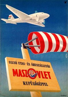 Cheap Transport of Passengers and Good With Plane (Vajda Lajos, Vintage Travel Posters, Vintage Airline, Retro Posters, Tourism Poster, Craft Images, Retro Ads, Aviation Art, Travel And Tourism, Illustrations And Posters