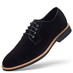 58ab1a7e15cb GOLAIMAN Men s Suede Leather Oxford Shoes casual Lace up Dress Shoes BLACK  10 D (M