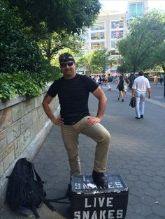 """NYC Police encounter. About to start filming the """"fake snake"""" social experiment in Union Square NYC.  People actually called 911 and the cops showed up. Not the first time or the last that my experiments have involved law enforcement officers showing up. Luckily they didn't arrest me this time!  Scott Goodknight."""