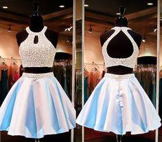 short homecoming dress, two piece prom dress, beading homecoming dress, junior…