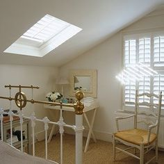 Shutters for Velux Windows - UK Home Ideas Bedroom Shutters, Interior Window Shutters, Wooden Shutters, Interior Doors, Bathroom Interior Design, Modern Interior Design, Blinds For Velux Windows, Bay Windows, Contemporary Shutters