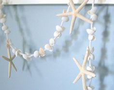 Starfish Garland Shell Beach Decor  - Nautical Decor Starfish & Seashell Garland, WHITE, 6FT