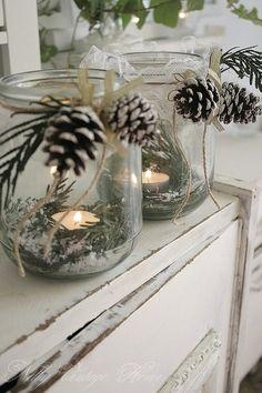 Lovely Christmas Vignette Using Canning Jars, Epson Salt, Tea-Lites and Greens!