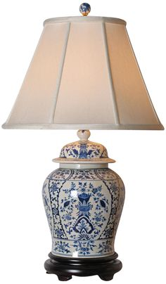 English Blue and White Porcelain Temple Jar Table Lamp -