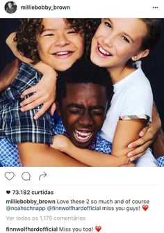 Gaten Matarazzo, Caleb McLaughlin & Millie Bobby Brown -from Millie's instagram, with shoutouts to Noah Schnapp & Finn Wolfhard -