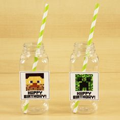 Minecraft Square Plastic Milk Bottle 6 Pack