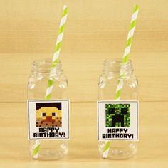 Minecraft Square Plastic Milk Bottle 6 Pack