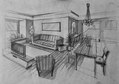 Best Home Decoration Stores Referral: 8760696582 Interior Architecture Drawing, Architecture Concept Drawings, Drawing Interior, Interior Design Sketches, Architecture Design, 2 Point Perspective Drawing, Perspective Art, Drawing Furniture, Interior Design Courses Online