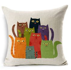 Nunubee Cotton Linen Cat Pillow Cover Home Decorative Throw Pillow Case Printed Cushion Cover Cat Cushion, Cushion Covers, Pillow Covers, Throw Pillow Cases, Decorative Throw Pillows, Decor Pillows, Sofa Throw, Colourful Cushions, Cat Quilt