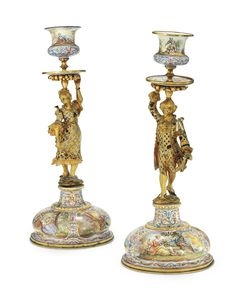 18th Century Costume, Silver Enamel, Candlesticks, Art Decor, 19th Century, Candle Holders, Metal, Chandeliers, Candle Sticks