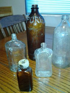 5 - Antique Vintage Bottles Brown Purex, Medicine, Cologne + More
