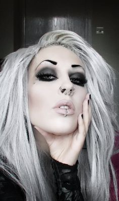 You don't have to be all black and still go Goth. I like the nude lips!