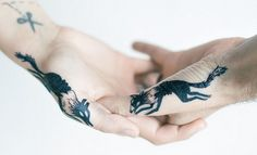 Wolf Tattoos have many positive meanings ,these tattoos are mostly used by women.Check out the best collection of Wolf tattoos here and pick your favourite. Small Hand Tattoos, Hand Tattoos For Guys, Sister Tattoos, Couple Tattoos, Unique Tattoos, Beautiful Tattoos, Tattoo Small, Friend Tattoos, Girl Tattoos