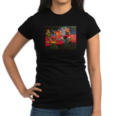 Night Feast Cats Junior Jersey T-shirt (dark) #awesome #CafePress #cats #cat #catlovers #catlife #catlady #catloversclub #crazycatlady #art #toons #cartoonart #illustration #cartoon #catart #buyart #buy #buyable #onlineshopping #cutecats #cutepetclub #kitty #kittycat #kittens #animals #acrylicpaint #acryliccats #catsandme #cuteanimals #katzen #gatos #chat #gatti #neko #giftsforher #5cats #night #grapes #vine #grapevine #fishdish #fish #food #sharks #drink #candles #fire #flame