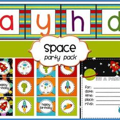 Free Space Party Pack Download - Blue/Orange rocket party also on son's 5th birthday list