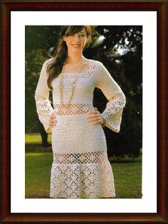 muçambê artesanato: Vestido em Crochê com Mangas Longa e Estilo Romano!!!