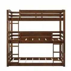 Harper & Bright Designs Espresso Twin Bunk Bed Over with Trundle Bed and End Ladder-SK000067AAP - The Home Depot Bunk Beds Boys, Wood Bunk Beds, Bunk Bed With Trundle, Bunk Beds With Stairs, Kid Beds, Triple Bed, Triple Bunk Beds, Bunk Bed Designs, Bed Slats