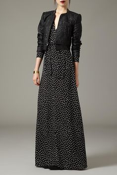 Move your maxi-dress style into the fall season by adding a chic leather jacket to the mix.