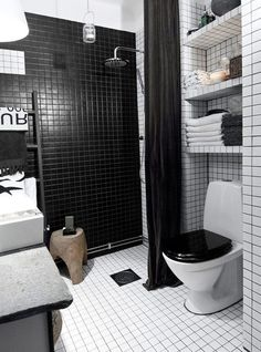 Swedish Bathroom! Black and White Apartment Interior Ideas Bathroom