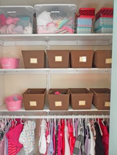 Organized kids closet - smart! Lower the bar, then add shelves - instead of two bars.