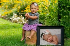 one year old photo session idea- include a newborn picture