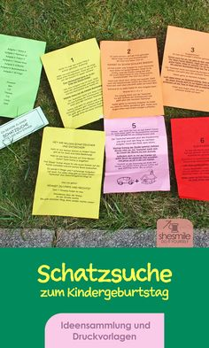 Ideensammlung und Druckvorlage gestaltet als PDF-E-Book von shesmile für eine Schatzsuche am Kindergeburtstag im Freien. Perfekt geeignet für Vorschul- und Grundschulkinder die gerne Rätsel lösen um an den Schatz zu kommen.   Nutze die Checkliste um dich ideal auf die Party vorzubereiten. Erstelle eine ToDo- und Einkaufsliste. Passe meine Ideen ganz einfach an deine Umstände und Begebenheiten an. Und ich bin mir sicher du wirst eine richtig tolle Schatzsuche auf die Beine stellen! Event Ticket, Personalized Items, Party, Blog, Secret Code, Yard Haunt, Print Templates, Primary School, Legs