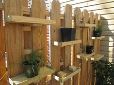 DIY plant shelves for a garden fence. Good idea if you have dogs that like to di