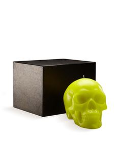 Large Bright Green Skull Candle - Gilt Home