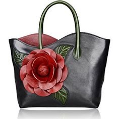 Pijushi Floral Shoulder Handbags Ladies Designer Handmade Leather Tote Bag 8825