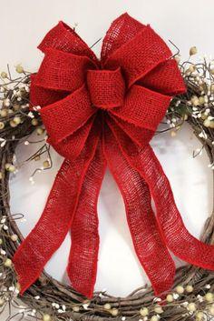 burlap wreath bow burlap bow burlap decor rustic by TheRusticRaven, $15.00
