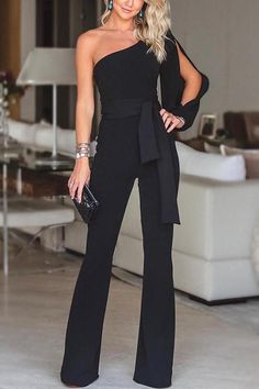 belt Jumpsuit wide legs rompers playsuits one shoulder jumpsuit pants jumpers. S… belt Jumpsuit wide legs rompers playsuits one shoulder jumpsuit pants jumpers. Black Women Fashion, Look Fashion, Ladies Fashion, Classy Womens Fashion, Feminine Fashion, Cheap Fashion, Girl Fashion, Winter Fashion, Mode Outfits