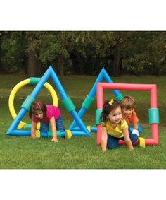 Geometric Foam Obstacle Set on zulily....maybe i can make it with pool noodles!
