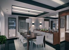 contemporary apartment dining room using neutral, sophisticated tones