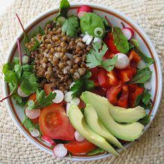 Salade composée lentillons et crudités