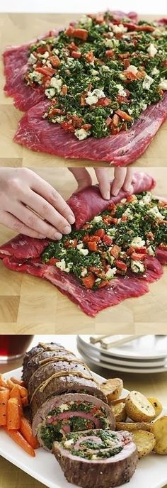 STUFFED FLANK STEAK  ~  1 flank steak (1-1/2 to 2 lbs.)...1 pkg. frozen chopped spinach, thawed...1/2 c. crumbled blue cheese...1 (7 oz.) jar roasted red peppers, drained & chopped...2 T. seasoned dry bread crumbs...1 egg yolk...3/4 t. garlic salt...3/4 t. ground black pepper...1 T. olive oil