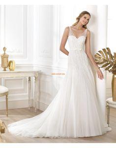 A-line Tulle Zipper Wedding Dresses 2014