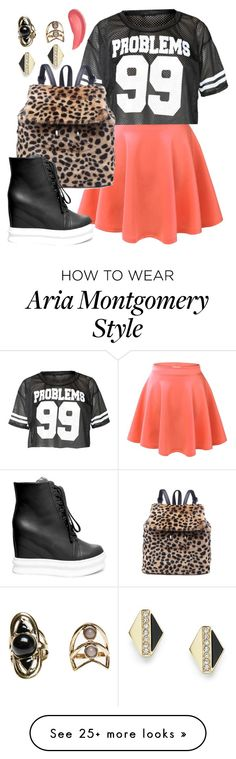 """Aria Montgomery inspired outfit with a sports jersey"" by liarsstyle on Polyvore featuring Steve Madden, FOSSIL, Wet Seal, Urban Decay and ss"