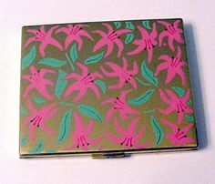 Pink and Green Enameled Flowers Powder Compact found on Ruby Lane