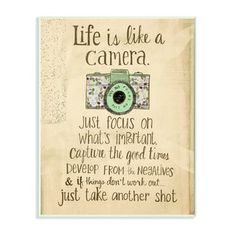 Life is like a camera. Focus on important things,capture the good times. Life is like a camera. Focus on important things,capture the good times. Words Quotes, Me Quotes, Motivational Quotes, Sayings, Qoutes, Morning Inspirational Quotes, The Words, Great Quotes, Quotes To Live By